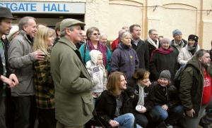 The Save The Westgate Hall pressure group gathers outside the hall for the cameras on 13 December 2010